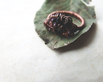 Black Boho Ring, Rustic Copper Ring, Black Glass Crystal Ring, Gothic Ring, Black Bohemian Ring