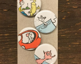 Green Eggs and Ham upcycled/recycled magnet set (4)