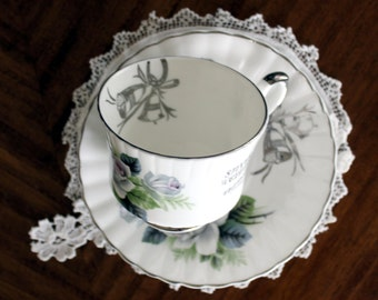Anniversary Teacup, Vintage Tea Cup and Saucer, Royal Stafford, Silver Anniversary 13617
