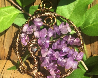 Tree of Life Pendant - Amethyst and Copper