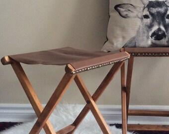 Caramel leather camp stool