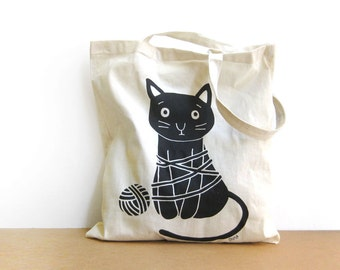 SALE 15% OFF Black Cat Tote Bag, Stylish Shopping Bag, Cat shopper bag, Cat lovers bag, Reusable bag Olula, Eco friendly, Shopper bag, Olula