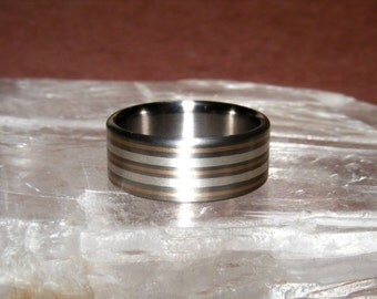 Titanium Dakota Winter  V1 14k Yellow Gold and Sterling Ring Wedding Band
