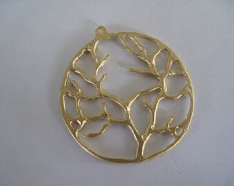 1-Matte Gold Tree of Life Pendant