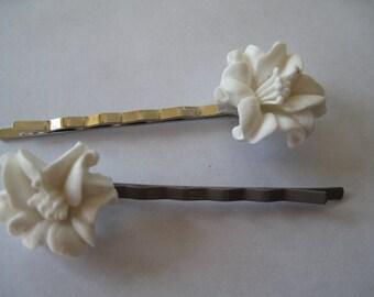 2 White Lily Barrettes