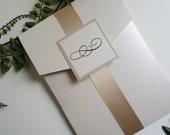 Elegant Wedding Invitation - Gold Wedding Invitation - Formal Wedding Invitation - Pocket Wedding Invitation - Style W-21 - SAMPLE