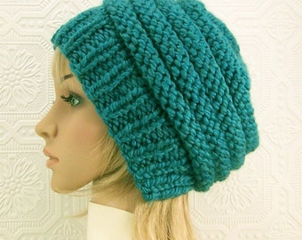 Hand knit beehive beanie hat - teal blue color - Women's Winter Fashion Accessories, gift for her, knitted hat by Sandy Coastal Designs
