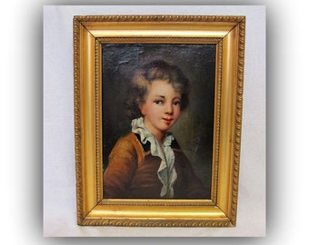 SOLD///// Antique French Portrait Painting -Oil on Canvas Portrait - Boy - French Brocante Style Home Decor