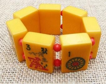 Vintage Mahjong Bakelite Tile Bracelet