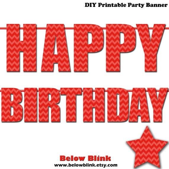 Red Happy Birthday Letter Banner Red Chevron Photo Prop