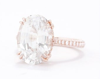 CERTIFIED - GIA Certified 6.58 CT Light Peach Champagne  Sapphire & Diamond Engagement Ring 18K Rose Gold