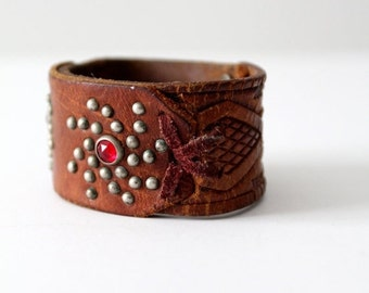 SALE vintage studded leather cuff bracelet, brown leather wristband