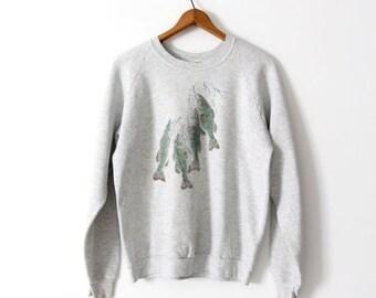 SALE graphic print sweatshirt, 1980s bass fishing Fruit of the Loom sweatshirt