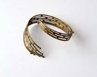 vintage 60s brutalist brass cuff, wrap around bracelet