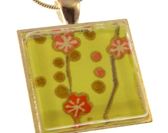 Blossoms on Chartreuse. Square Chiyogami Pendant