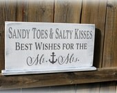 """Custom Wedding Sign - 8"""" x 16"""" Self standing - Sandy Toes & Salty Kisses Best Wishes for the Mr and Mrs - Beach Theme Guest Book Sign"""