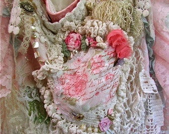 Shabby Victorian Bag, handmade OOAK, romantic layered laces doilies ruffled laces, beads buttons embellished, womens fabric purse bag pink
