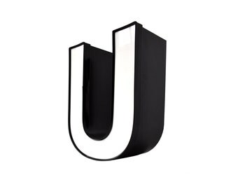 Industrial Letter U, Black White Letter U, Vintage Building Letters, U Display Letters