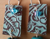 NEW EARRINGS - Leather and Glass with Silver - Dangle Earrings