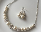Ivory pearl set with necklace and earrings, ivory pearl bridal set with crystal balls, bridesmaids jewelry, pearl bridal set