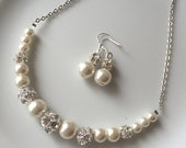 SALE Ivory bridal set  with crystal  balls  - Bridesmaid jewelry set - Ivory pearl jewelry set