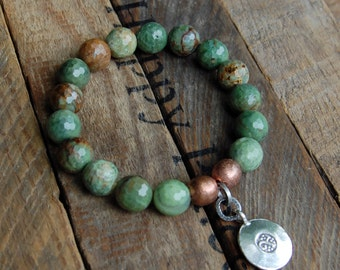 Faceted Green Opal & Thai Silver Charm Bracelet
