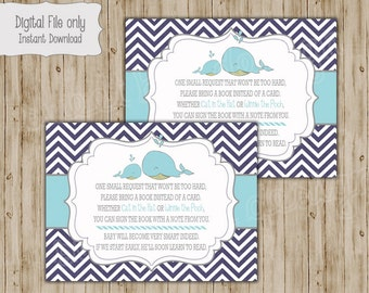 Whale Bring a Book Insert, Whale Baby shower insert, Bring a book, Instant Download