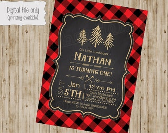 Lumberjack Birthday Invitation, Lumberjack First Birthday Invite, Printable Lumberjack Invitation, Rustic, Lumberjack Birthday