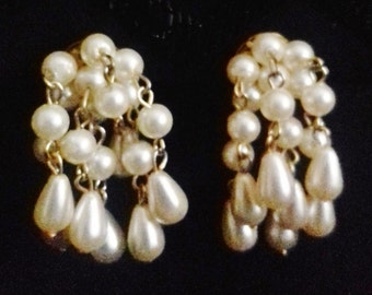 Vintage 60s 70s style Drop Earrings sophisticated Gift Valentines pearly dropper Retro Fancy Dress clip-ons