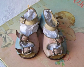 Vintage Baby Shoes Pink Blue Yellow Leather Sandals Little Kicker Shoes 1950s Baby Shower Photo Prop