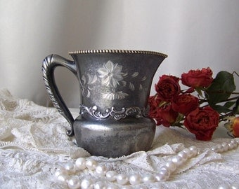 Vintage Silver Plate Creamer Aged Patina Quadruple Plate Creamer Poole Silver Co Shabby Cottage Decor 1950s