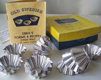 Vintage Baking Molds Swedish Ebba's Forms And Recipes 30 Molds In Original Box Candy Molds Chocolate Molds Miniature Swedish Tartlets 1960s