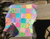 Modern Quilt,Minky Back,Patchwork,Crib Quilt,Lap Quilt,Baby Girl,ReadyTo Ship,White,Minky,Flowers,Turquoise,Yellow,Dragonfly,Pink