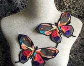 Vintage Applique - 2 pcs Big Black Colours Butterfly Applique Trim (A396)