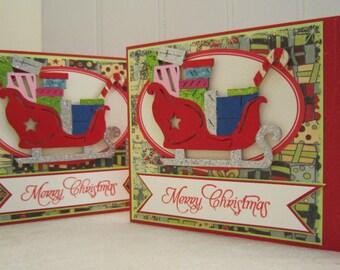 Holiday card set - Sleigh set of 2