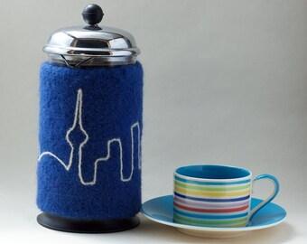 French Press Cozy with Toronto Skyline 32 oz Bodum Cosy in blue