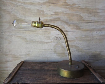Vintage Goose Neck Lamp - Edison Bulb - Machine Age Lamp