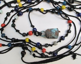 Vintage Animal Lead-Black Cord Rope with Handmade Glass Beads and Camel Bell-17foot
