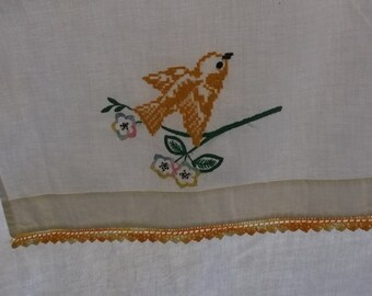 Vintage Dresser Scarf,Table Runner, Off White Muslin Cotton with Gold Crochet Lace Edge, Gold Bird and Floral Embroidery