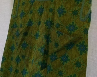 Vintage Apron, Cobbler Apron, Smock Apron, Apple Green and Bright Blue Floral Print, Sage Green Bias Tape Trim