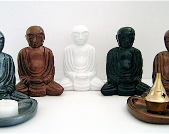 Meditating Buddha Monk with Tureen, Brass Incense Burner and Tea Candle - 5 color choices