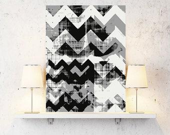 Nordic art, graphic design art, abstract geometric print, abstract wall art, chevron, black and white, modern art, scandinavian art, art
