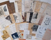 Vintage neutral paper pack for collage, scrapbooking - 45+ sheets Shades of brown, natural, black, beige, grey, creamy.