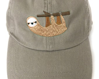 Sloth baseball cap for men or women, khaki with wide brim and adjustable back
