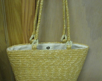 Fun Antique Vintage Summer Straw Purse Over Sized For Market-Beach-Resort Fun Fabric Lined Carry All Faded Glory Brand Very Good Condition