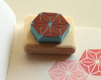 Asanoha rubber stamp, hand carved, wood mounted