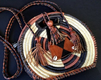 """20% WINTER SALE South American or African Purse, Tote, Pouch / Leather and Twine / Vacation Souvenir / 8 """""""