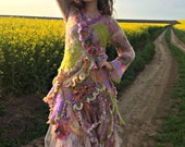 RESERVED FOR L.Part Payment Romantic Bohemian Crochet dress tattered dress wearable art dress eclectic dress gypsy