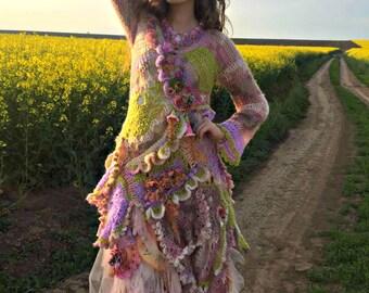 Romantic Bohemian Crochet dress boho chic mori girl dress fairy dress tattered dress wearable art dress eclectic dress gypsy