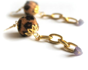 leopard long earrings- amethyst earrings